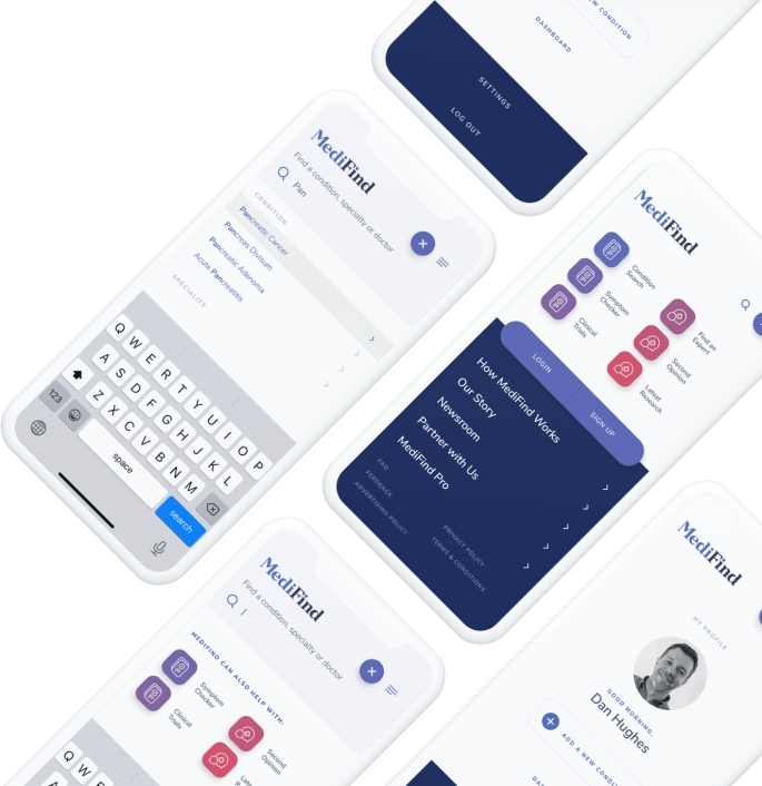 Collection of phone screens displaying different pages on MediFind