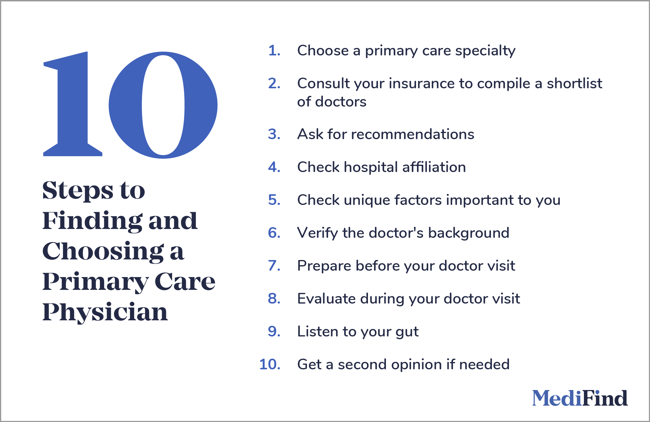 10 Steps to Finding and Choosing a Primary Care Physician