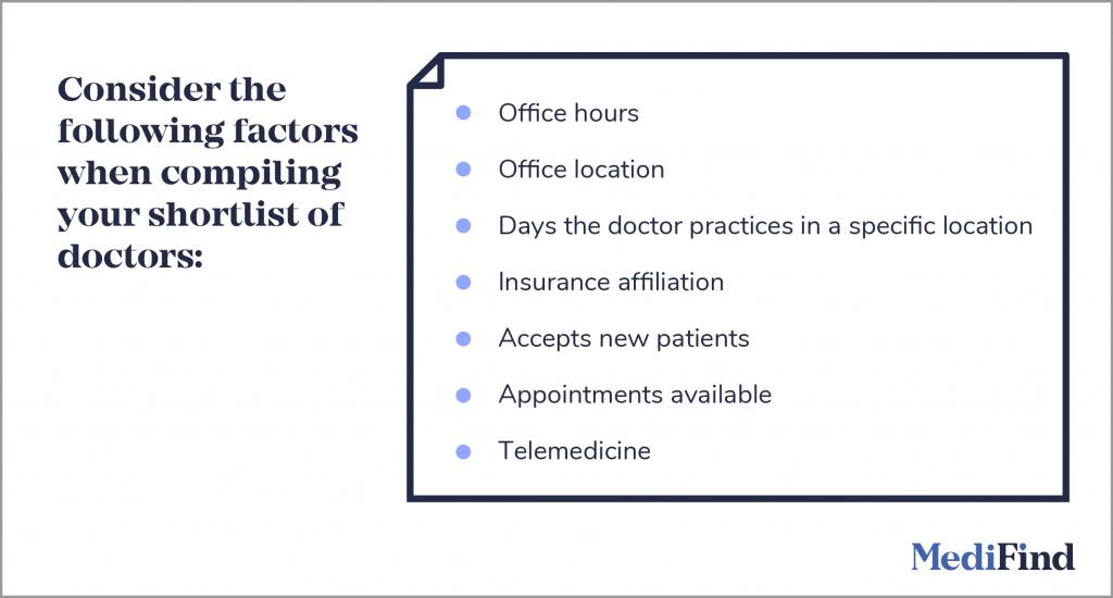 Compile a Shortlist of Doctors