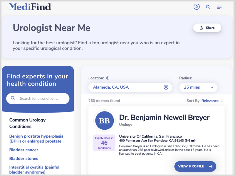 MediFind can help you find a top urologist near me