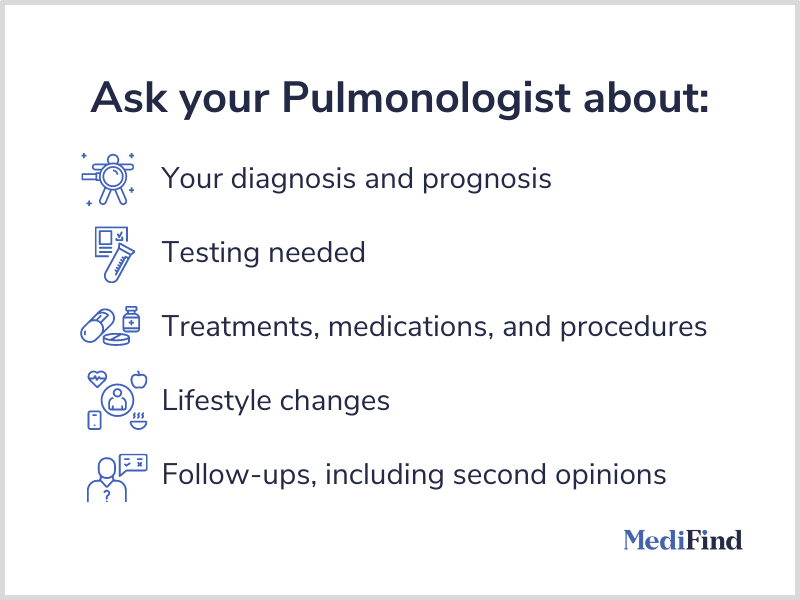 Ask your pulmonologist about diagnosis, testing, treatments, lifestyle changes, and follow-ups