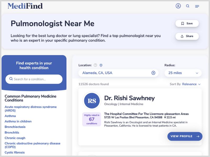 Find pulmonologists near me